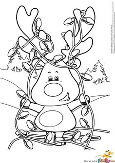 Reindeer Lights and be used as a fastner page with snaps or hooks and eyes Más Christmas Colors, Kids Christmas, Christmas Crafts, Christmas Lights, Christmas Tables, Nordic Christmas, Modern Christmas, Coloring Book Pages, Printable Coloring Pages
