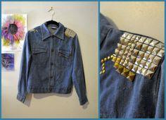 Vintage Upcycled 60s 70s Punk Studded Denim Blue Jean by Skella, $85.00