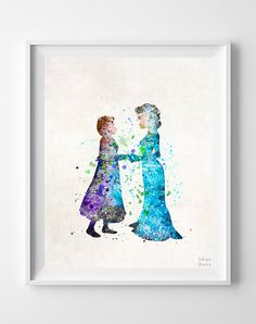 Elsa and Anna Print Frozen Watercolor Disney von InkistPrints