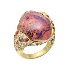 Nicholas Varney Mexican Fire Opal Cocktail Ring Cabochon-cut Mexican fire opal cocktail ring in 18k yellow gold, accented by pavé-set natura...