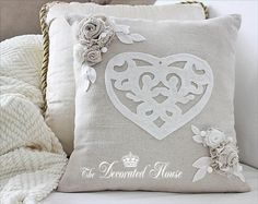The Decorated House. Valentine's Day Pillow with Heart & Fabric Flowers. Tutorials. DIY. How-to.