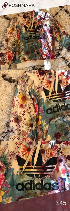 Floral Adidas Hoodie Floral adidas hoodie, in great condition and great for spring! adidas Tops Sweatshirts & Hoodies