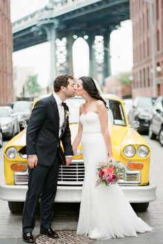 Bride and Groom with Vintage Taxi | photography by http://www.brklynview.com/