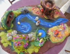 Old Man Hollow Oak Tree Autumn Sculpture Playscape Play mat - Needle Felted Playtime. $47.00, via Etsy.