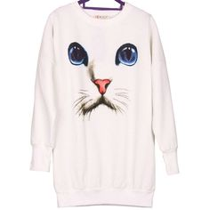 cat face jumper from mancphoebe on Storenvy ($19) ❤ liked on Polyvore featuring tops, sweaters, jumpers sweaters, cat sweater, pink sweater, cat print top and pink top