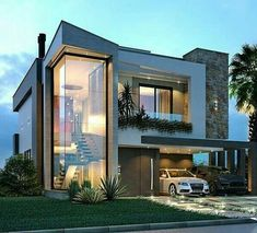 Modern Villa Design, Modern Exterior House Designs, Dream House Exterior, Exterior Design, Facade Design, Bungalow House Design, House Front Design, Small House Design, Home Architecture Styles
