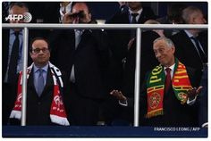 French President Francois Hollande (L) looks dejected next to his Portuguese counterpart Marcelo Rebelo de Sousa after Portugal won the Euro 2016 final football match between Portugal and France (AFP / Francisco Leong) Portugal Fc, Ronaldo, French President, Football Match, France, Hashtags, A Team, Presidents, Soccer