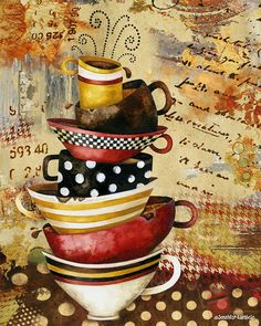 Art Print 11x14. Coffee Cups Divine by studiopetite on Etsy