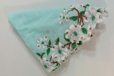 Sweet Vintage Cherry Blossom  Hankie in Teal by foundundertheeaves, $5.25