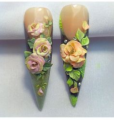 3d Acrylic Nails, Acryl Nails, 3d Nail Art, Cool Nail Art, 3d Nail Designs, Cute Acrylic Nail Designs, Black Nail Designs, 3d Flower Nails, Sculptured Nails