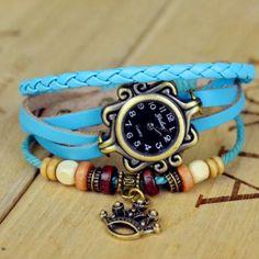 Quartz Stylish Weave Wrap Around Leather Bracelet Lady Wrist Watch