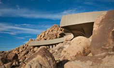 Architecture, Comely Contemporary Architecture Of Modern Desert House By Kendrick Bangs Kellogg Featuring Unique Exterior Design With Nice Wall Among Rock Stone: Unique Modern Architecture Building on Desert