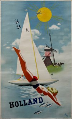 Holland, 1950s - original vintage poster listed on AntikBar.co.uk***Research for possible future project.