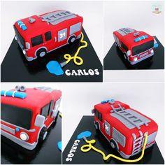 Fireman Birthday, Fireman Party, Fireman Sam, Lego Birthday Party, Ambulance Cake, Fire Engine Cake, Fire Cake, Fire Fighter Cake, Cake Borders