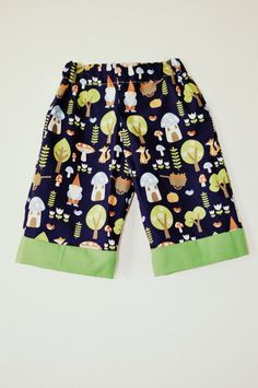 Navy and green woodland gnome toadstool print baby or toddler baggies trousers long-shorts 1-2 3-4 girls boys unisex. $22.50, via Etsy.