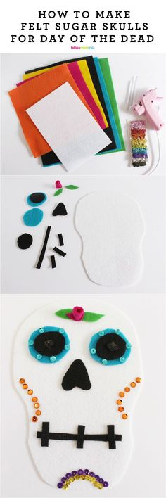 Make these super easy felt sugar skulls for Day of the Dead and help your kids work on their fine motor skills while learning about the holiday. Win-win!