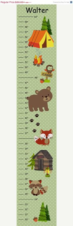 MEGA SALE Personalized Bear Camp with Sage Green Polka Dot Background Canvas Growth Chart