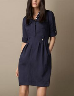 Burberry, womens blue heritage tulip dress ❤️Welcome to join BeautyCode FB CommunityBurberry Heritage Tulip Dress: love the shirt/skirt/dress look, love the tulip shape, love the details and buttons Love the ease and simple design of this dress. Casual Dresses, Short Dresses, Casual Outfits, Fashion Dresses, Winter Dresses, Simple Dresses, Burberry Dress, Tulip Dress, Tulip Skirt
