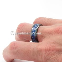 Large collection of high quality stainless steel men jewelry. Tungsten Carbide Rings, Blue Tiles, Wide Band Rings, Tile Patterns, Fit, Wedding Bands, Rings For Men, Plating