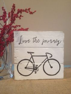 """Lovely Handmade """"vintage bicycle"""" sign made from pallets"""