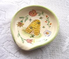 Ceramic Spoon Rest Painted Bee Skep And Flowers