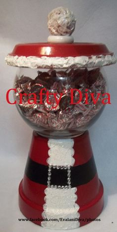 Terracotta Pot; Christmas Santa Candy Bowl  Created by Evalani Reitenbaugh