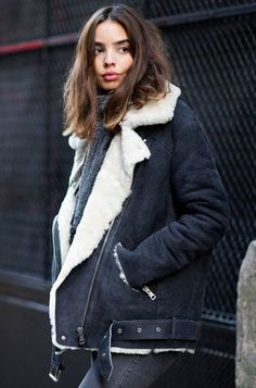 AUTUMN STYLE: Shearling jackets are set to make a comeback this fall. Pair yours with black skinnies and suede boots.