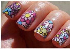 textured flower nails - 30 Beautiful and Unique Nail Art Designs Nail Art Designs 2016, Nail Art 2014, Winter Nail Designs, Toe Nail Designs, Nail Polish Designs, Fancy Nails, Trendy Nails, Cute Nails, Geometric Nail Art
