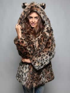 iTLOTL Womens Leopard Faux Fur Coat Fuzzy Zipper Warm Winter Oversized Outwear Jackets