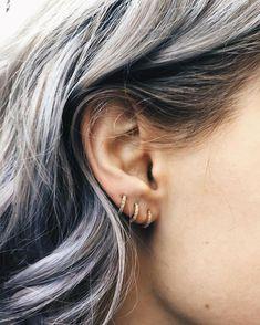 Classic diamond huggie hoops on our friend Alice Piercing Ideen Bar Stud Earrings, Gold Hoop Earrings, Bridal Earrings, Crystal Earrings, Diamond Earrings, Diamond Jewellery, Tassel Earrings, Tiny Earrings, Crystal Jewelry