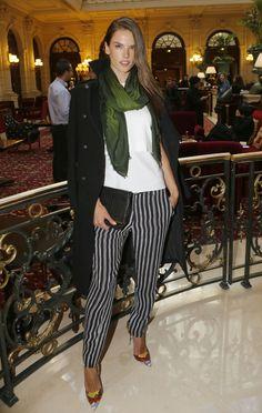 Stars attend Paris Fashion Week fall/winter 2015: Alessandra Ambrosio attends the Balmain fashion show during Paris fashion week fall/winter 2015 in Paris on March 5, 2015.