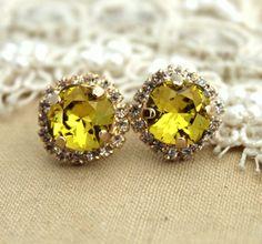 Lime Swarovski Rhinestone studs earring  14k 1 micron by iloniti, $43.00