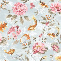Albany Koi Teal & Coral Wallpaper main image