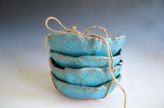 Keramik Schalen in türkis - Geschirr-Keramikplatten - organisch geformte Icecream Schalen
