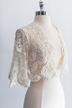 [SOLD] Antique Irish Lace Crochet Cropped Jacket | G O S S A M E R