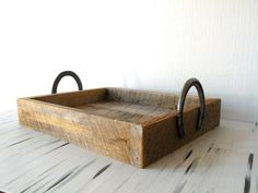 Reclaimed Barn Wood Serving Tray W/ Horse Shoe Handles. $50.00, via Etsy. | I would love to do a DIY version of this from the antique barn wood at my grandfather's house, using shoes from my own horses.