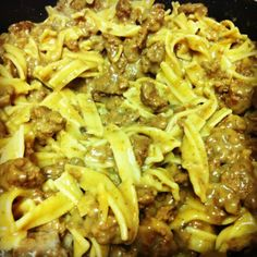 1 lb of ground meat. 1 packet of dry French onion soup. 1 cream of mushroom. 1/4 cup of milk. Egg noodles. Cook noodles as directed on package. Cook ground meat in a skillet. Drain. Pour the cream of mushroom soup, french onion soup packet, and milk in with the cooked meat. Cook on low, mixing it together. Once noodles are finished mix with meat mixture. Now eat and enjoy.