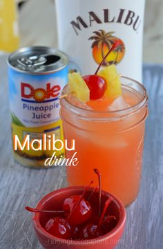 "1 small can of pineapple juice ...  1 ounce of grenadine ...  1-2 ounces of Malibu Pineapple Rum ...  1 Tablespoon of Cherry juice ...   Directions: Mix all add ice - Enjoy. ...or as I know it a ""Bahama Mama"""