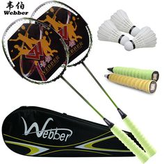 Sports & Entertainment ... ... Racquet Sports ... Free Shipping Genuine 2 pack single shot double pieces of ultra light carbon badminton racket and 3 badminton and 1 bag