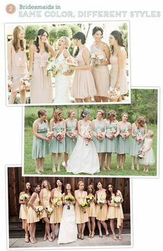 Bridesmaids Dresses - same color, different dress styles
