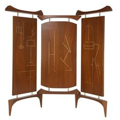 Frank Kyle Three-Panel Screen in Walnut and Bronze | From a unique collection of antique and modern paintings and screens at https://www.1stdibs.com/furniture/asian-art-furniture/paintings-screens/