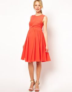 We love the bold color and kicky shape of ASOS's knot-front dress ($39). Made from a breathable woven fabric, the dress features a mesh yoke panel above a sweetheart neckline with a knotted detail. An empire waist and an A-line, pleated skirt make this as comfy as it is cute.