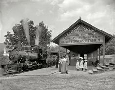 "Circa 1902. ""Catskill Mountain railway station, Haines Corners, N.Y."" 8x10 inch dry plate glass negative, Detroit Publishing Company."