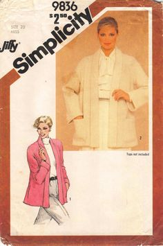 Size 20; Bust 42; Simplicity 9836; Jiffy; 1980's Misses Jiffy Unlined Topper by RoxyPoindexter