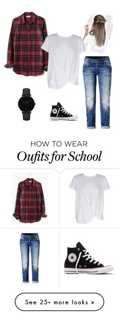 """""""School Outfit"""" by alexandralynnowen on Polyvore featuring Madewell, Converse, CLUSE and MINKPINK"""