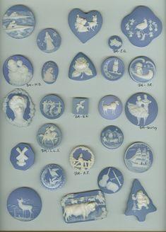 Amazing tray of Vintage Wedgewood, Jasperware buttons.