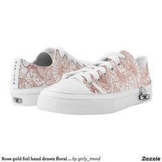 Rose gold foil hand drawn floral pattern girly printed shoes