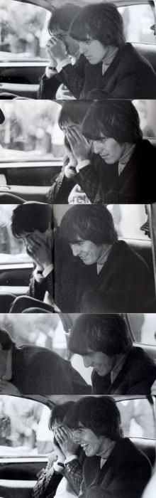 1965 - Paul McCartney and George Harrison in Help! film (backstage photo). This is so CUTE!