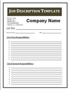 job description template - Google Search