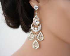 Statement bridal earrings chandelier wedding earrings large chandelier earrings large statement wedding earrings wedding jewelry swarovski rhinestone bridal earrings leona gold chandelier earrings mozeypictures Image collections